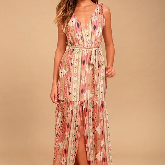 3d1dfe6bcee38 Lulu's Dresses | Nwot Lulus Mystical Moment Pink Tribal Maxi | Poshmark